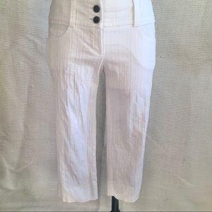 Trina Turk 4 Texture Stripe Crop Capri Pants White